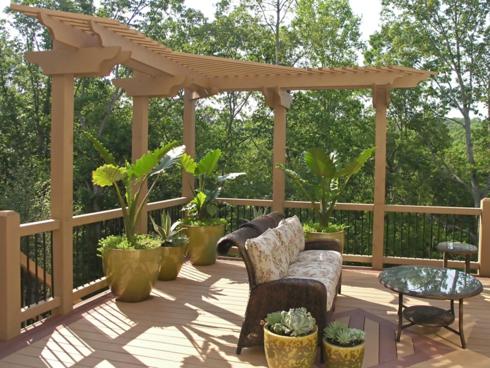 A stylized pergola and deck.