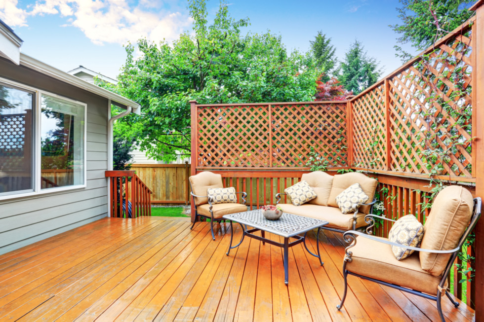 Deck with added privacy screen's for more comfortable enjoyment.